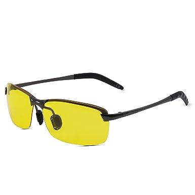 AMZTM Noche Visión Gafas De Protección Media Metal Montura Noche Conducción Gafas Polarizadas Gafas De Sol: Amazon.es: Ropa y accesorios