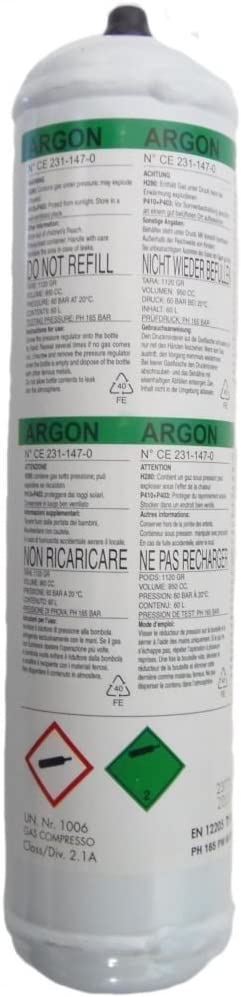 1 Litre Telwin 802050 Argon Gas Cylinder Non-Recoverable