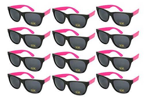 Edge I-Wear 12 Bulk 80s Party Sunglasses Neon Sunglasses for Adult Party Favors 5402RA/PK-12