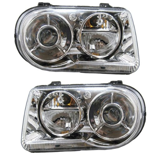2005 2006 2007 2008 2009 2010 Chrysler 300C 8Cyl 5.7L (excluding 300 or SRT-8 Models with HID or Xenon Lights) Headlight Headlamp Front Halogen Composite Head Lamp Pair Set Left Driver And Right Passenger Side (05 06 07 08 09 10)
