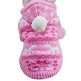 Pet Apparel, ღ Ninasill ღ Hoodie Sweater Pet Cat Puppy Coat Small Pet Dog Warm Costume (S, Pink)