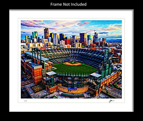 Signed Colorado Rockies Wall Decor Art Print. Coors Field Home Décor Painting Memorabilia. Gift Idea For Any Fan Men Women Father's Day Birthday Bedroom Home Bathroom Man Cave. 8x10. Frame ()