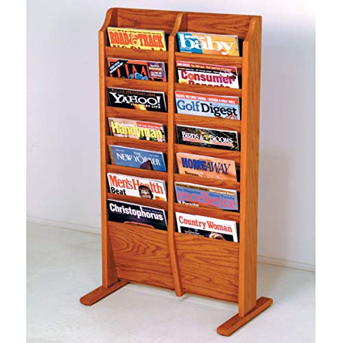 Wooden Mallet MR14-FSBL Cascade Free Standing 14 Pocket Magazine Rack - Black44; Light Oak & Medium Oak