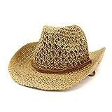 Lisianthus Men's & Women's Western Style Cowboy Cowgirl Straw Sun Hat B-Khaki