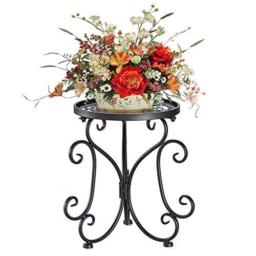 aAnjoy 1 Tier Potted Plant Stand Butterfly Design Flower Pot Shelf (Black)