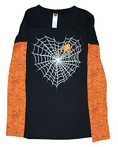 Halloween Juniors Spiderweb Heart Black Long Sleeve Graphic T-Shirt - - Spider Long Sleeve Web