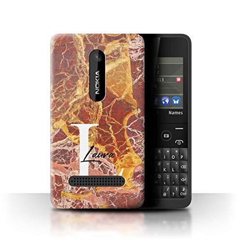 3 Stone Asha - Personalized Custom Marble Stone Fashion Case for Nokia Asha 210 / Luxury Rose Gold Quartz Design/Initial/Name/Text DIY Cover
