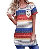 Minisoya Women Lace Pocket Tunic Tops Pullover Summer Short Sleeve T-Shirt Casual Loose Striped Blouse Dressy Shirt