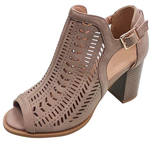 Top Suzy Cute Designer Tan Peeptoe Wedge Cutout Caged Sandal Shoe for Women Junior Ladies (Khaki Size 10) -