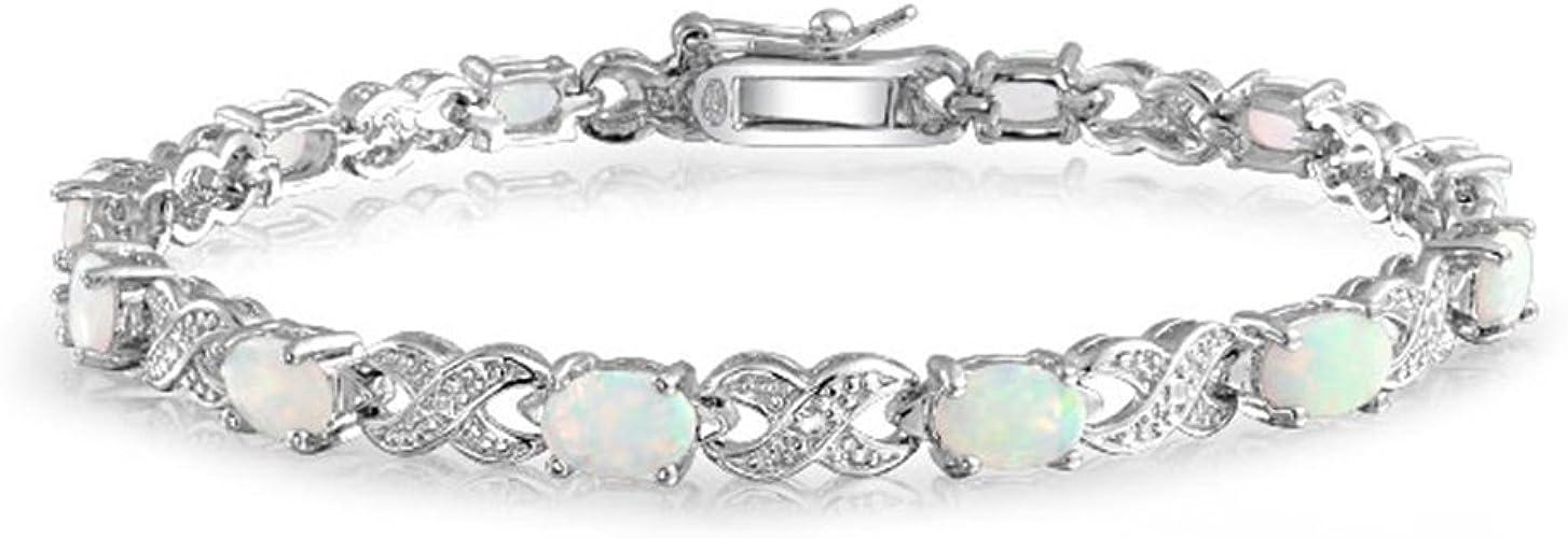 "White Opal .925 Sterling Silver Bracelet 7.5/"""
