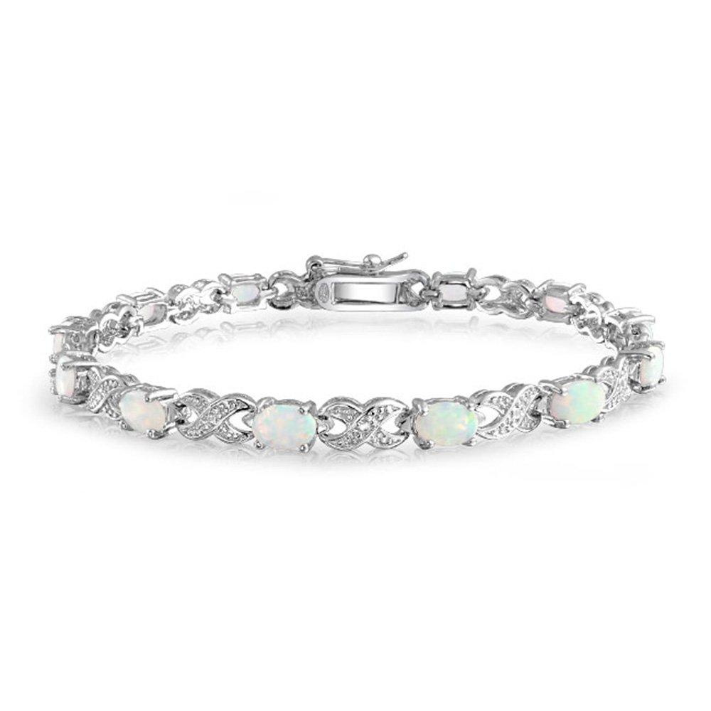 Bling Jewelry 925 Silver Infinity Synthetic White Opal XO Tennis Bracelet 8in XNY-BS0335A1