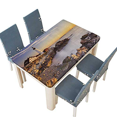 PINAFORE Polyesters Tablecloth The Portland Head Lighthouse in Cape Elizabeth Maine Wedding Birthday Baby Shower Party W57 x L96.5 INCH (Elastic Edge)