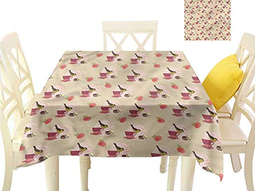 WilliamsDecor Waterproof Table Cloth Vintage,Bird Teacup Macarons Roses Square Tablecloth W 60