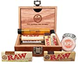 "Bundle - 8 Items - Raw Wooden Box, Rolling Papers, Roller, Tips and RPD Grinder and Doobtube by ""RAW, RPD"""