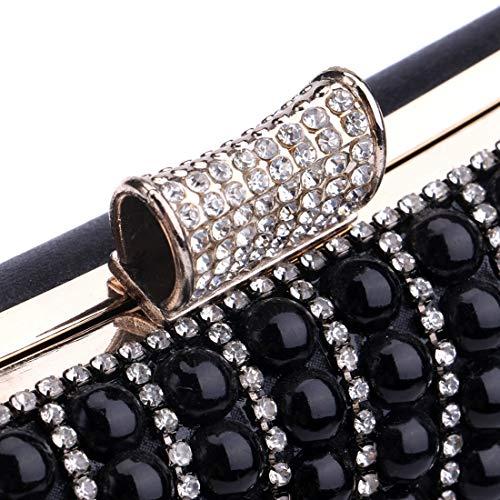 Gold Mujeres Boda Embrague Black color Cuentas Del Bolsos De Tarde Lindanig Perlas Con Bolso Las La 6apRqnxw