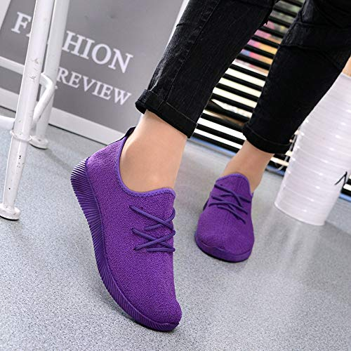 Sneakers Running Flat Sport Casual Purple Breathable Shoes HLHN up Mesh Lace Color Candy Women Walking Outdoor Iwq8xxt5