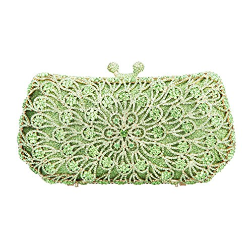 Fawziya Blossoming Kiss Lock Purse Clutch Bags For Women Handbags-Green