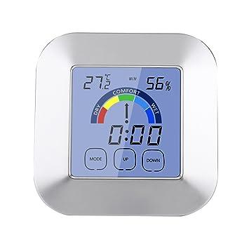 Medidor de Humedad de Temperatura LCD Digital, Reloj Digital LCD con Soporte, Termómetro Higrómetro con Soporte para el Uso de Viajes Escolares en el Hogar: ...