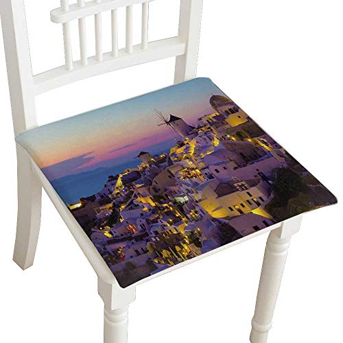 (HuaWuhome Dining Chair Pad Cushion oia Sun Santorini Island Greece Fashions Indoor/Outdoor Bistro Chair Cushion 30