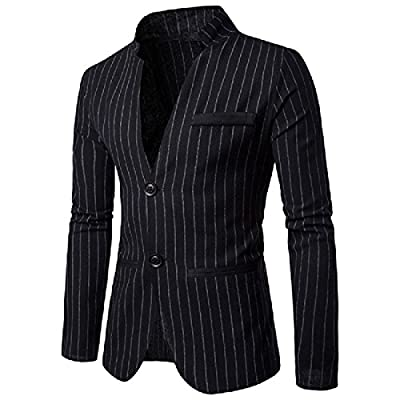 Hot Ruhua Mens Formal Two Button Casual Pockets Vertical Stripes Blazer free shipping
