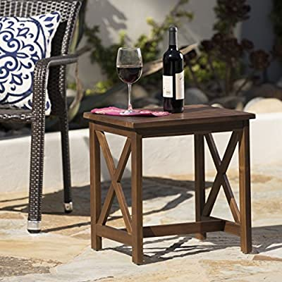Avant Outdoor Farmhouse Cottage Dark Oak Acacia Wood End Table - This handsome cottage side Table will brighten up any room Perfect as a display stand, or as a Place to set down needed items Manufactured in China - patio-tables, patio-furniture, patio - 51LAEp 6oHL. SS400  -