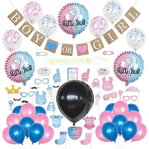 Baby Gender Reveal Party Supplies and decorations - 64 total pcs includes gender reveal balloons and more