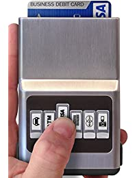 Credit Card Holder - Front Pocket Organizer, Easy Push Button Use