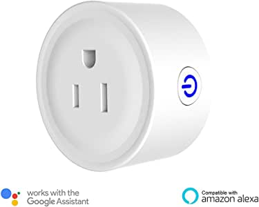 Mini Smart Plug Wi-Fi Wireless Mini Socket Outlet Compatible with Amazon Alexa and Google Home & IFTTT, No Hub Required, FCC Certification