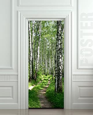 "Wall Door STICKER birch, forest, road, way, passageway, , mural, decole, film 30x79"" (77x200 Cm)"