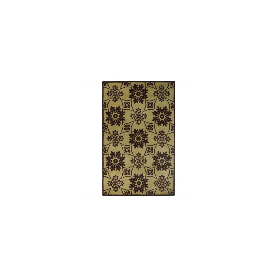 Emerald Pistachio / Mocha Mosaic Tile Contemporary Rug Size 36 x 56 Rectangle