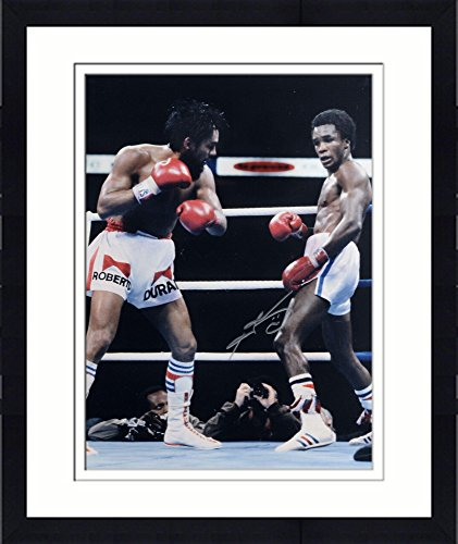 """Framed Sugar Ray Leonard Autographed 16"""" x 20"""" vs. Roberto Duran Photograph - Fanatics Authentic Certified by..."""