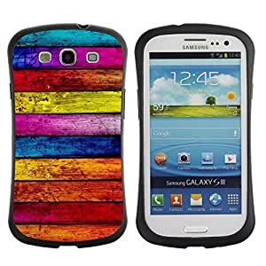 "Hypernova Slim Fit Dual Barniz Protector Caso Case Funda Para SAMSUNG Galaxy S3 III / i9300 / i747 [Textura de madera Líneas Horizontal Colorido""]"