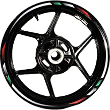 Stickman Pro Rapid CG4C Red White Green White 17 inch Rim Motorcycle Sticker Wheel Decal Stripe Bubble Free