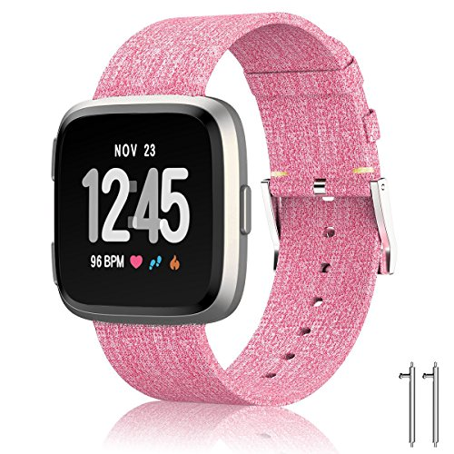 SIX by SIX Woven Fabric Wrist Strap Quick Release Watch Band with Classic Square Stainless Steel Buckle for Fitbit Versa Fitness Smart Watch