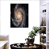 "Warm Family Galaxy Ready to Hang Home Decorations Wall Decor Stars in Galaxy Spiral Planet Outer Space Nebula Astronomy Theme Image Print Art Stickers 16""x20"" Black Beige Violet"