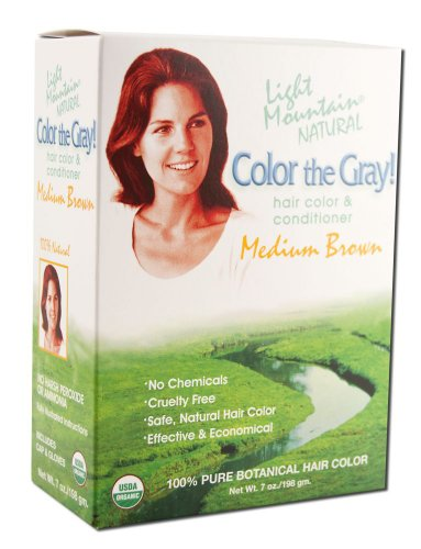Light Mountain Natural Color The Gray! Hair Color & Conditioner, Medium Brown, 7 Ounce (198 g) (Pack of 2)