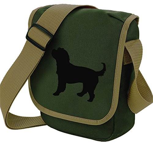 Cockerpoo Bag Reporter Bag Shoulder Bag Cockapoo Silhouette Cocker Spaniel Poodle Cross Dog Gift Choice of Colours Black Dog Olive bag