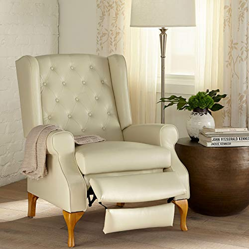 BrylaneHome Queen Anne Style Tufted Wingback Recliner - Ecru