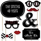 Custom 40th Anniversary Photo Booth Props Kit - Personalized Ruby Wedding Anniversary Party Supplies - 20 Selfie Props