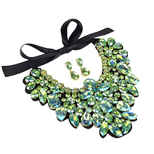 (3 Colors Costume Statement Necklace for Women Jewelry Fashion Necklace 1 Set with Gift Box (AB Green))
