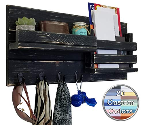 Classic Farmhouse Rustic Mail Organize Featuring Customizable Number of Key Hooks - Shelf Mail Slot - Available in 20 Colors - Shown in Kettle Black - Mail Holder with Single Wall Hooks - Mail Bin