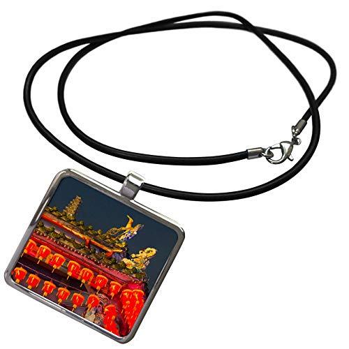 3dRose Danita Delimont - Taiwan - Cixian Temple Dedicated to Matsu in Shilin, Taipei, Taiwan - Necklace with Rectangle Pendant (ncl_312808_1)