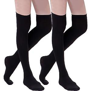 38b6c7b3e HDE Women s Knee High Stockings Solid Color Opaque Cotton Spandex Fashion  Socks
