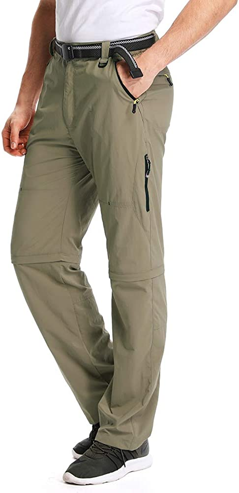 Mens Outdoor Zip Off Quick Dry Hiking Lightweight Convertible Fishing Cargo Pants #M1111//Khaki//US 38