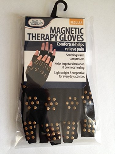 Magnetic Arthritis Therapy Fingerless Compression Gloves, Black, Black, Regular