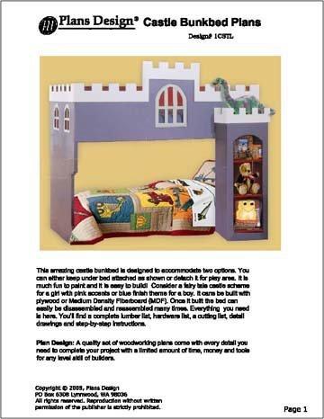 Children S Castle Loft Bunk Bed Woodworking Plans Design 1cstl