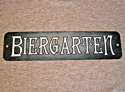 Yilooom Metal Sign Biergarten Beer Garden German Bar Brewery Pub Hall Drinking Culture Restaurant Drinker Man Cave Wall Plaque for $<!--$14.99-->