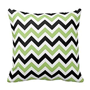 Spring Green And Black Chevron Pattern Pillow Decorative Pillow Cover 16 X 16inch Cushion Cover