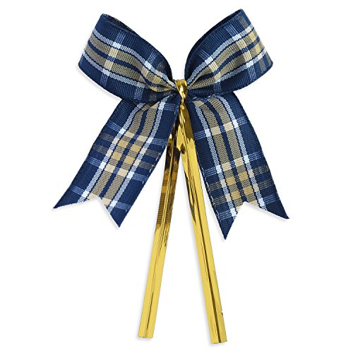 Ribbon Bows with Twist Ties (50 Pieces) - Medium Size: 2 Inches - Made of High Quality Woven Ribbon - Great for Bakery Bag, Cello Bag, Lollipop, Cake Pop and Party Favor (Blue and Beige Tartan) -