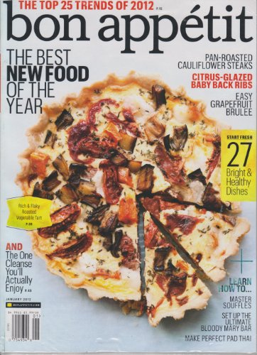 Bon Appetit Magazine JANUARY 2012 (THE BEST NEW FOOD OF THE YEAR!) -
